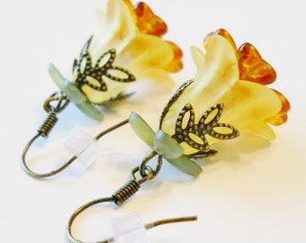 Woodland Earrings: Rustic Nature Gift for Her, Fall Autumn Earrings, Frosted Yellow/Orange/Green Layered Flowers, Gift Boxed, Ready to Ship