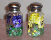 Pansy Salt and Pepper Shakers Hand Painted Glass Flower Salt & Pepper Shakers by Lisa Hayward