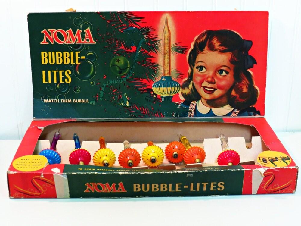 1940s NOMA Bubble Lites Christmas Decor 8 Lights With Box