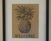 Burlap - Pineapple Welcome Picture - FREE SHIPPING