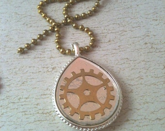 Silver Teardrop with Brass Gear Steampunk Necklace