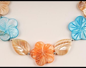Mother of Pearl Pastel Colored Carved Hibiscus Flower and Leaf Necklace