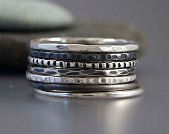 Skinny Stacking Ring Set in Sterling Silver - Pick any 9 rings in your choice of hammered, patterned, textrured finishes