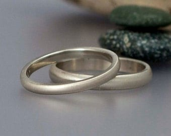 White Gold Wedding Ring Set -  2mm and 3mm Wide Sold 14k Gold Heavy Weight Half Round Bands