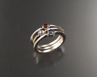 Red, White and Blue Stackable Ring Set, Sterling Silver