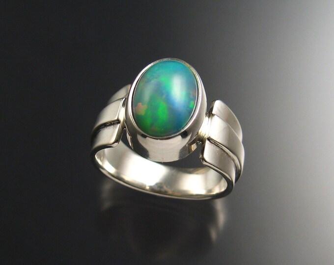 Opal Ring, Sterling Silver OOAK, Size 8 1/2