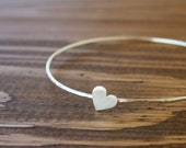 Heart skinny bangle bracelet / silver skinny heart bracelet / shiny silver bangle / love bracelet handmade /