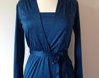 Sexy Rich Dark Blue Sparkly Vintage 80s Evening Dress