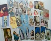 Vintage Catholic Rosary Prayer Cards Sacred Heart Virgin Mary Italy Assemblage Altered Art Supplies Ephemera Religious