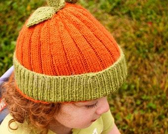 Pumpkin Pack Patterns - Knit and Crochet versions of pumpkin hat - Digital Download