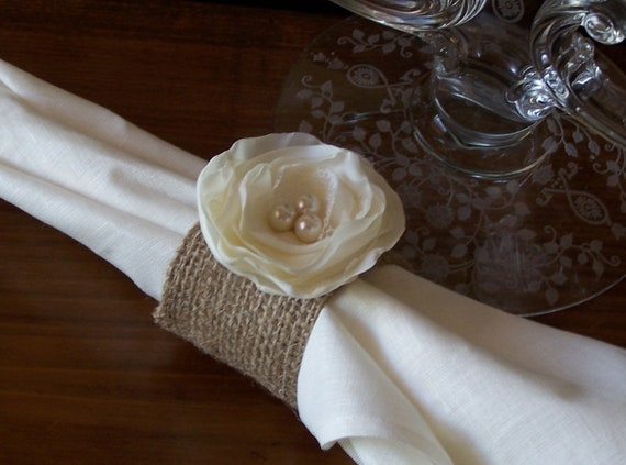 Items similar to Burlap Napkin Rings with Ivory Fabric Flower accented ...