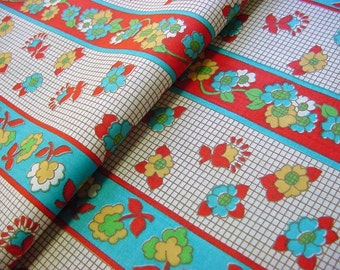 Vintage 60s Cotton Fabric - Retro Stylized Floral Stripe - Red, Yellow, Robin Egg Blue -Last piece
