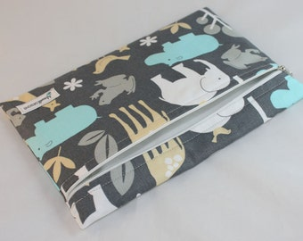 SALE Reuseable Snack Bags Zippered Jungle Grey