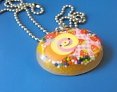 Oval Orange Candy resin filled necklace - OOAK & Ready to Ship