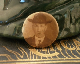 Celluloid Tin Pinback Mourning Pin of Young Man in Sepia Photo