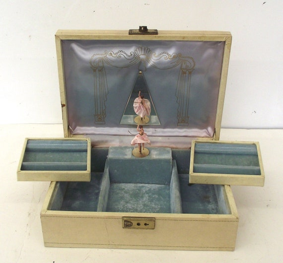 Vintage Mele Locking Jewelry Box Music Box With Ballerina