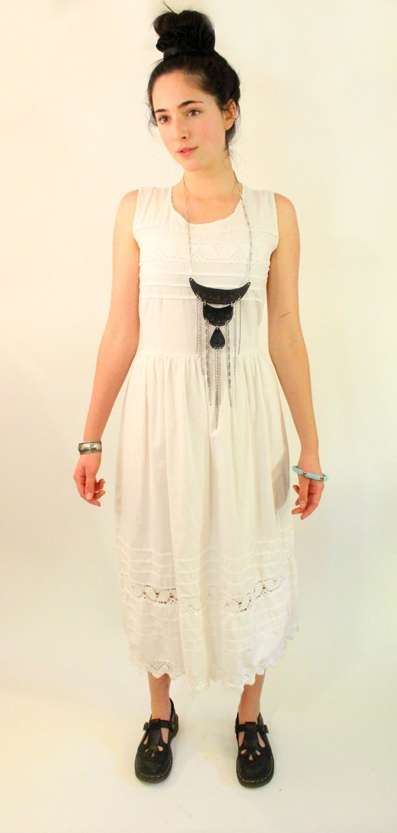 CLOVER 70s White Cotton Bohemian Sun Dress