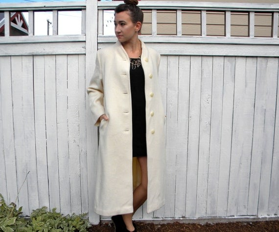 Winter White Long Wool Coat | Down Coat