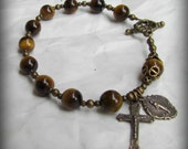 Men's Rosary Bracelet -Gold Tigereye Gemstones Solid Bronze Toggle, and Medals