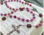 Large Rosary with Pink Crazy Lace Agate with Bronze Medals - RESERVED for Nicola