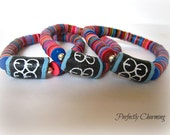 Friendship Bracelet Adinkra ME WARE WO Commitment and Perseverance African Recycled Vinyl Records and Krobo Bead
