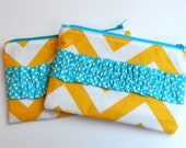 Ruffle Clutch, Zippy Pouch, Chevron Bag