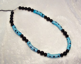 Black and Blue Glass Noodle Bead Necklace Free US Shipping