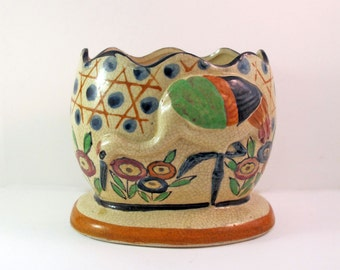 Vintage Japanese Vase Planter with Bird