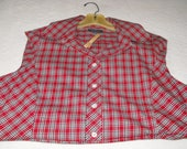 Upcycled woman's blouse clothes pin bag, red plaid cotton
