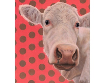 White Cow Magnet -  White Cow with Polka Dots - Cow Art - Proceeds Benefit Animal Charity