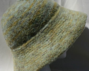 Handmade hand knitted and hand felted  multi-green hat