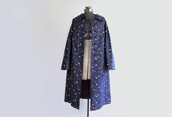 1960s coat - 60s polka dot navy blue raincoat - size Large Black Friday Cyber Monday