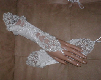 Ivory Beaded Lace and Satin Bridal Fingerless Gloves