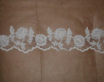 Beaded WHITE Alencon Lace Border Trim