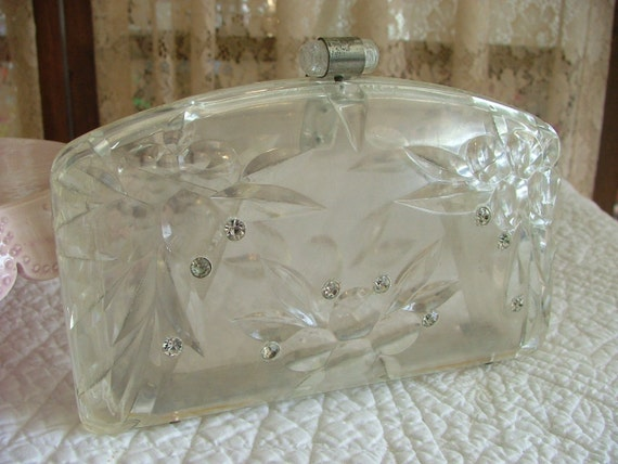 3-DAY SALE  Vintage Clear Lucite Snap Clutch Purse with Rhinestones 1950s