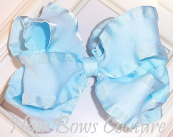 Large Light Blue  Double Ruffle Double Layered  Hairbow  Fancy Hairbows  Girls Hair Bows Toddlers Children Hair Bows