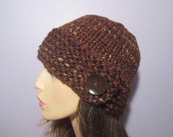 Brown Hand Knit Hat with Wood Button - Winter Hat