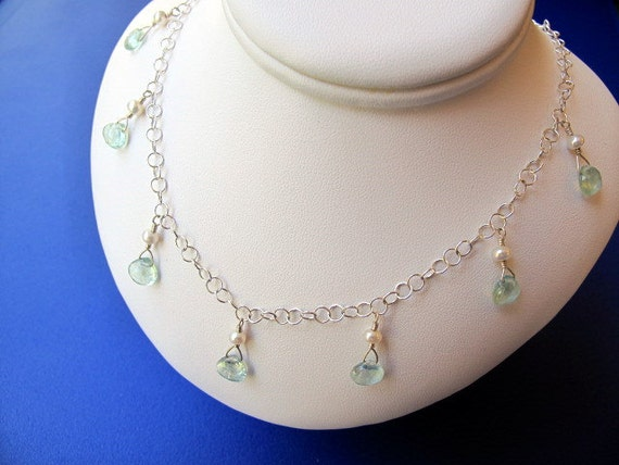 Aquamarine Dangles with Pearls