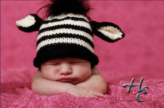 Zebra Hat PATTERN - diy for Newborn to Toddler Sizes - Instant Download