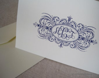 Elegant Flourish - Monogram Cards - Set of 30