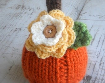 Pumpkin Hat, Knit Baby Cap Knitted Newborn Infant Fall Photo Prop, Halloween, Removable Sweet Fall Flower, Autumn, Jack o lantern