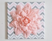 "Nursery Flower Wall Decor - Dahlia Wall Art - 12"" x 12"" Nursery Canvas Wall Decor - Baby Gift - Chevron Pink Flower on Zigzag Wall hangings"