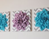"""CHOOSE THREE COLORS- Dahlia Wall Flowers -Mix and Match Your Colors- 12 x12"""" Canvas Wall Art- 3 D Felt Flower"""