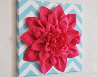 "Wall Flower -Hot Pink Dahlia on Aqua and White Chevron 12 x12"" Canvas Wall Art- 3D Felt Flower"