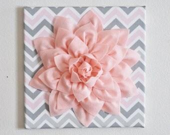 "Nursery Flower Wall Decor - Dahlia Wall Art - 12"" x 12"" Nursery Canvas Wall Decor - Baby Gift - Chevron Pink Flower on Zigzag Wall hangings"
