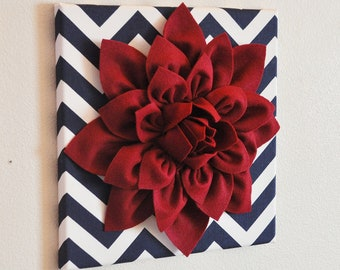 "Flower Wall Decor -Cranberry Dahlia on Navy and White Chevron 12 x12"" Canvas Wall Art- 3D Felt Flower"