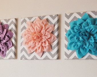 "CHOOSE THREE COLORS- Dahlia Wall Flowers -Mix and Match Your Colors- 12 x12"" Canvas Wall Art- 3 D Felt Flower"