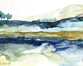 Original watercolor landscape