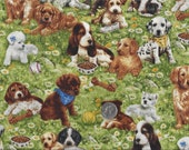 All Breed Puppies in the Garden I Spy Lab, Cocker, Beagle, Westie, Collie By the Fat Quarter