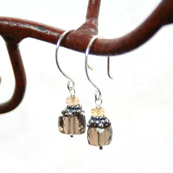 Gemstone Earrings Smoky Quartz Imperial Topaz Sterling Silver Wire Wrapped Earrings
